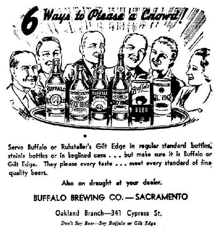 Buffalo Beer ad, 1937.