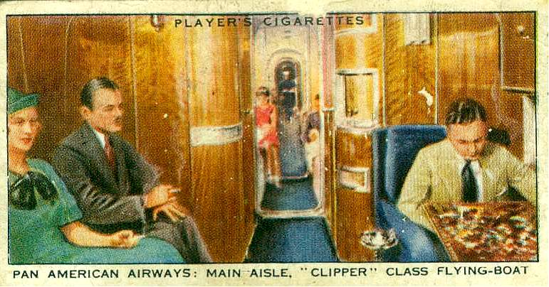 Inside of a Pan Am Clipper, from a  British tobacco card.