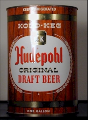 1960s Hudepohl gallon can.