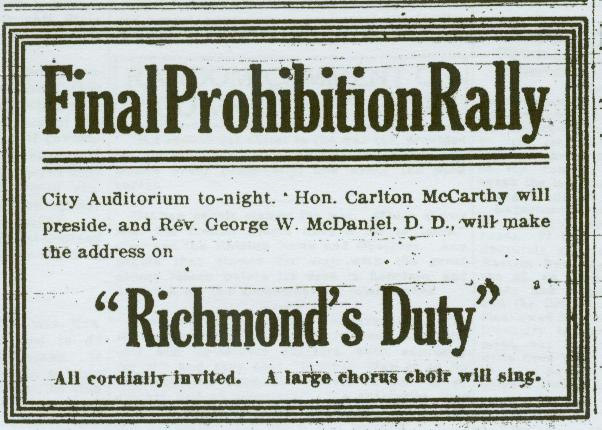 Prohibition rally ad.