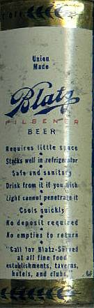 Side panel from a Blatz can.
