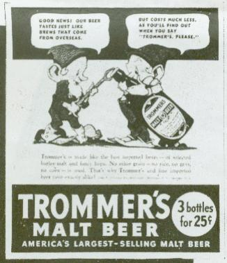 Trommers ad with dwarfs circa 1938.