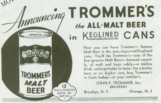 Trommer's Malt Ad with Can.